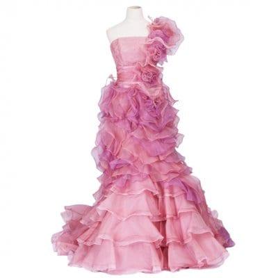 【激安中古】カクテルドレス/お色直しドレス/カラードレス/2wey/セパレート/ピンク/wc-0015