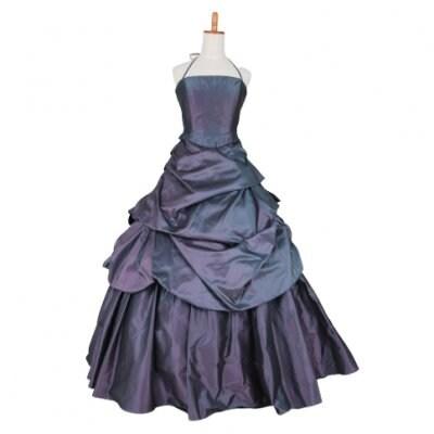 【激安中古】カクテルドレス/お色直しドレス/カラードレス/シンプル紺/ネイビー/wc-0020