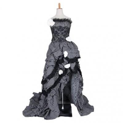 カクテルドレス/お色直しドレス/カラードレス/ギンガムチェック/白×黒/ブラック×ホワイト/wc-0046