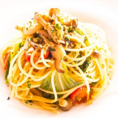 ディナー限定 青菜ときのこの和風パスタ + スープ付き