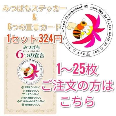 【1~25枚のご注文】 みつばちステッカー(直径120㎜)と みつばちステッカーに込められた6つの宣言カード(はがきサイズ100㎜×147㎜)