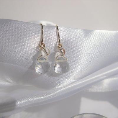 マロン型水晶と玉水晶の幸福を呼ぶピアス・イヤリング