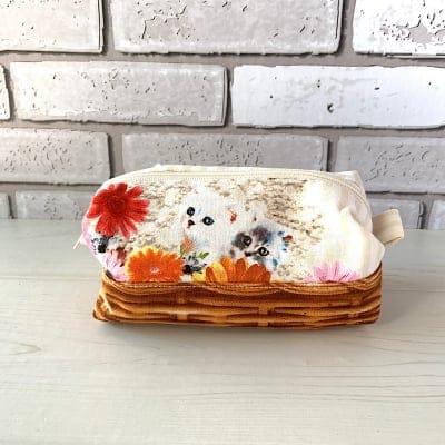 猫ちゃんとお花バスケット♡キャラメルポーチ