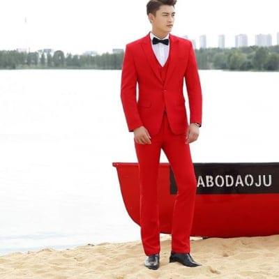 大人気商品 紳士赤スーツ 3点セット