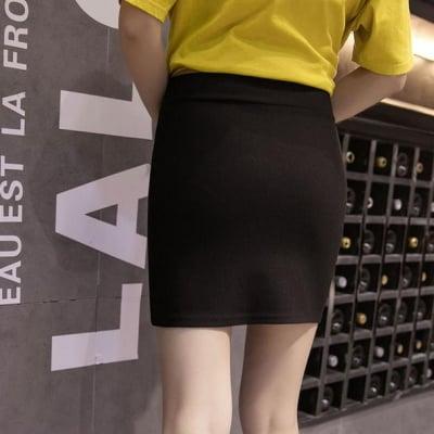 ワンカラー マーメイドラインスカート フリーサイズ