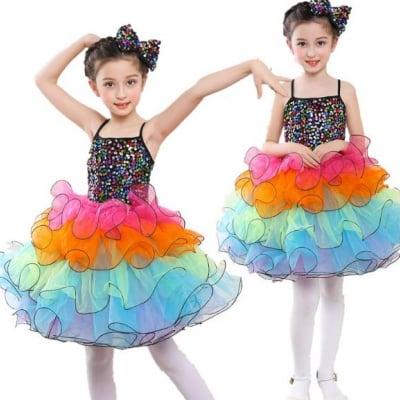 女の子ワンピース チュール キッズダンス衣装 ワンピー子ども ステージ衣装 舞台舞踊 演出団服 ダンス衣装 ダンスウェア お姫様ドレス ぼうぼうスカート スパンコール付