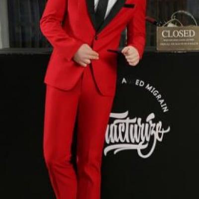 紳士スーツセット 大人気商品 メンズファッション メンズスーツ 2点セット スリムスーツ ビジネススーツ セットアップ フォーマルスーツ リクルートスーツ 結婚式 長袖 忘年会 司会者 パーティー 卒業式スーツ エリート細身 赤 レッド