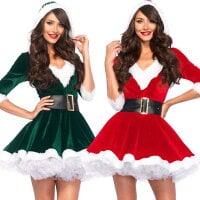 クリスマス ドレス サンタコス 衣装 パーティー衣装 サンタクロース コスプレ コスチューム 可愛い 萌え萌え 舞台演出服 コスチューム 細身 ベルト付 帽子付