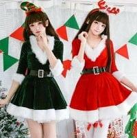 クリスマス サンタコス 衣装 パーティー衣装 クリスマス コスプレ サンタクロース コスチューム 変身仮装 ドレス マント 可愛い 萌え萌え 舞台演出服 コスチューム 細身 ベルト付