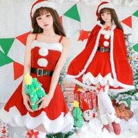 クリスマス衣装 サンタコス クリスマス コスプレ キャミソール 細身ドレス クリスマスパーティー衣装 サンタ 衣装ふわふわ ドレス+マント+ベルト+帽子