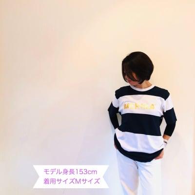 新作!!送料無料!!MERIRA+ ロゴボーダーTシャツ【ネイビー】(S〜XL)2...
