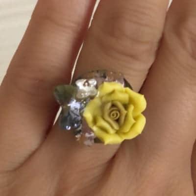 黄色の薔薇&バタフライリング