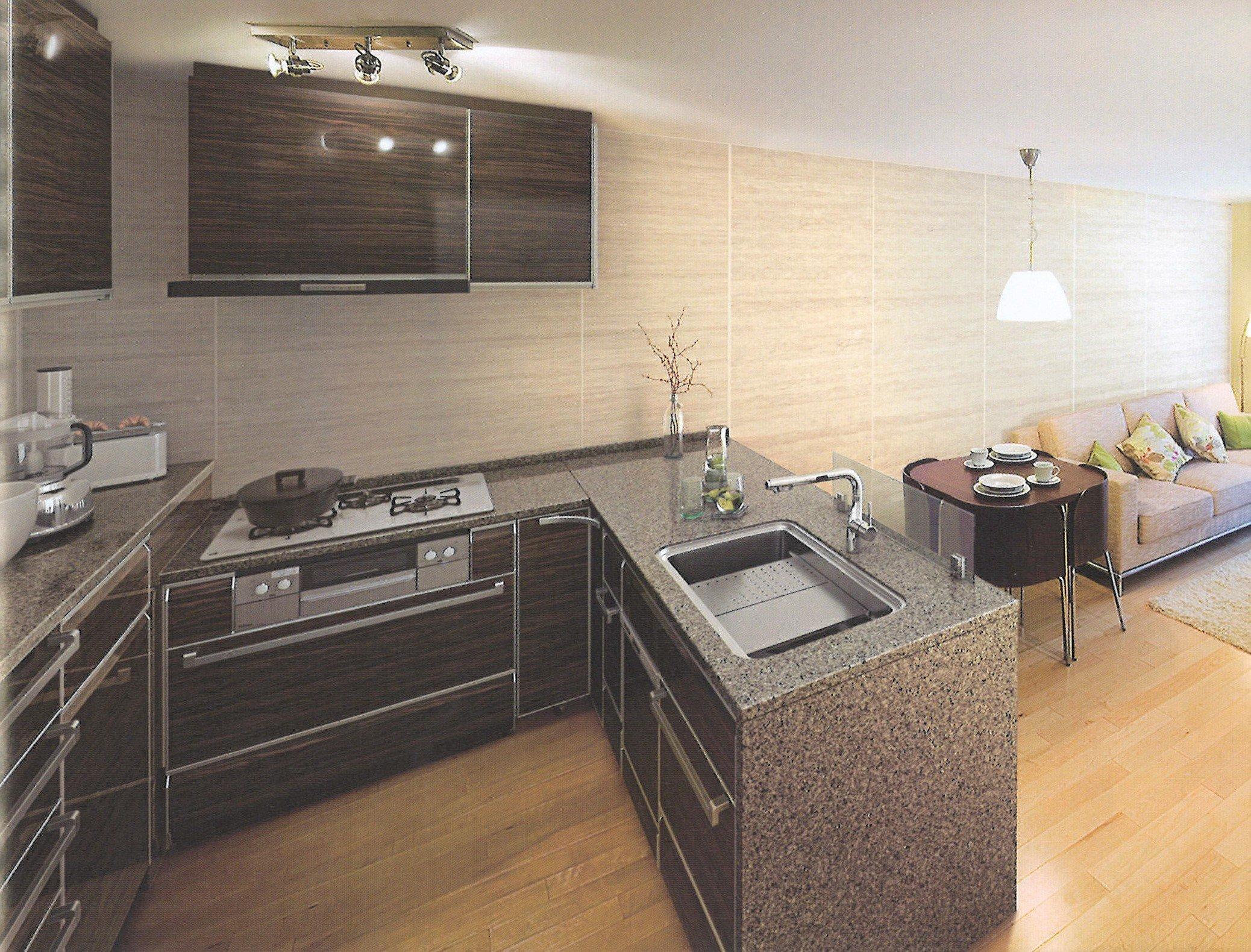 TakaraStandard システムキッチン 鮫島工業施工費込み フラット対面L型 リフォーム商品プランのイメージその1