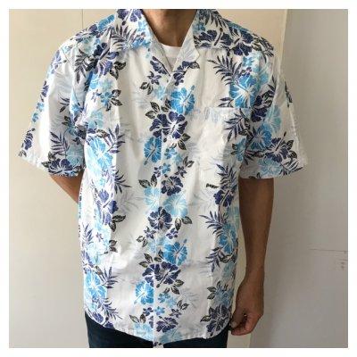 【かりゆしウェア男性用】L〜4Lサイズ 開襟 ハイビスカス ブルー