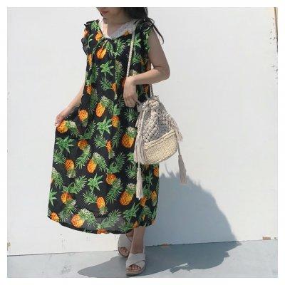 【カラードレス】パイナップル柄 袖あり ブラック