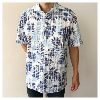 【男性用かりゆし】ポロシャツ Lサイズ チェックストレチア柄 ライトブルー