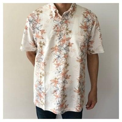 【男性用かりゆし】ポロシャツ Lサイズ トックリキワタ柄 レッド