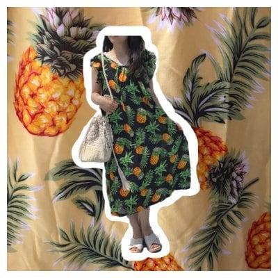 【カラードレス】パイナップル柄 ブラック