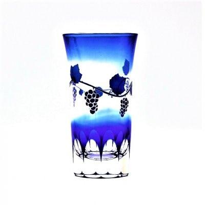 [高ポイント]一口ビールグラス(青/葡萄,袴切子)