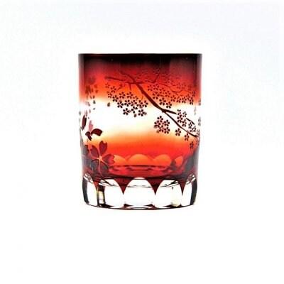 [高ポイント]ロックグラス(赤/桜,袴切子)