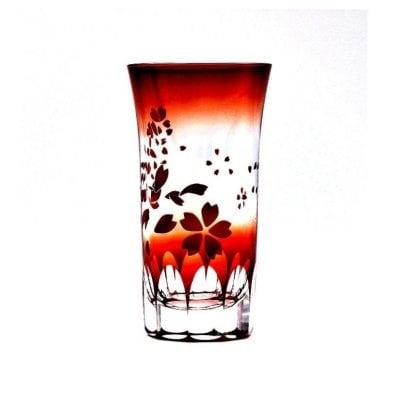 [高ポイント]一口ビールグラス(赤/桜,袴切子)/好評につき次回4月中旬出...