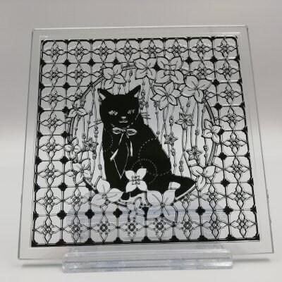 切り絵/大橋忍デザインガラスコースター 【黒猫】