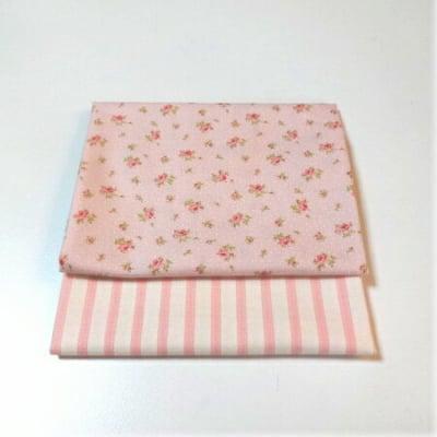 2枚組カットクロス|小花×ストライプ(ピンク)mpda|カルトナージュの材料に♪布の柄合わせに困ったらコレ!