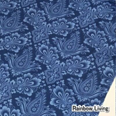 人気のモダmoda ファブリック110cm×50cm〜|REGENCY BALLYCASTLE CHINTZ ブルー|カルトナージュの材料に♪