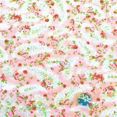 人気のモダmoda|ファブリック110cm×50cm〜DAWSEY PAISLEY バラ&ペイズリー柄|ピンク|カルトナージュの材料に♪