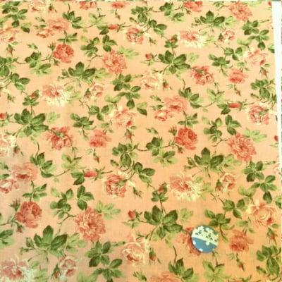 人気のモダmoda|ファブリック110cm×50cm〜ROSES & CHOCOLATE バラ柄 /ローズピンク|カルトナージュの材料に♪