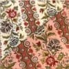 moda|ファブリック 110cm×50cm〜JARDIN de VERSAILLES バラ花柄ボーダー(アイボリー、ピンク) BOTANIQUE|カルトナージュの材料に♪