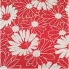 moda|ファブリック110cm×50cm〜FLOWER WEEDS レッド|カルトナージュの材料に♪