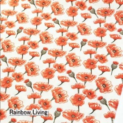 人気のモダmoda|ファブリック110cm×50cm〜LE PAVOT 花柄(ポピー) オレンジ |カルトナージュの材料に♪