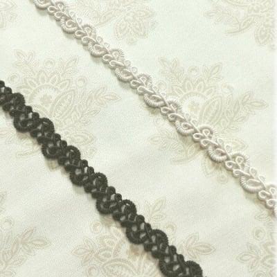 ブレード Leaf(生成り、黒)10mm巾 トリミングレース|カルトナージュの材料に♪