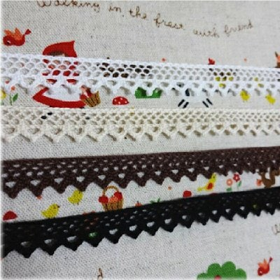 ★綿トーションレース(白・生成り・茶・黒)■14mm巾★カルトナージュの材料に♪
