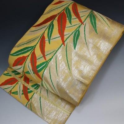 【あいまる中古帯】袋帯 正絹 アンティーク 引箔 金糸 植物文様織り出し...