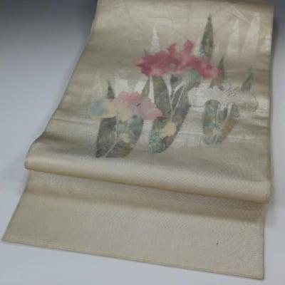 【あいまる中古帯】 袋帯 正絹 引箔 花柄織り出し ぼかし 現代帯 肌色系