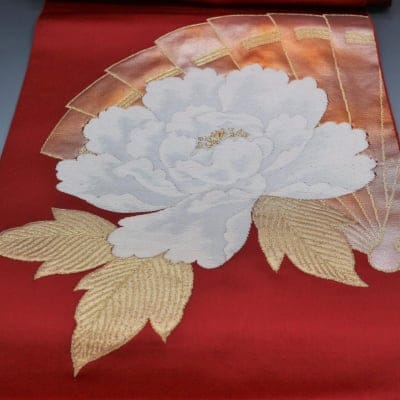 【あいまる中古帯】引箔 金糸 松葉仕立て 花柄 八寸なごや帯 正絹