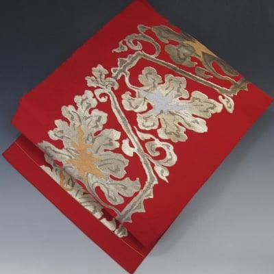 【あいまる中古帯】八寸なごや帯 正絹 金系 銀系 ふくれ織