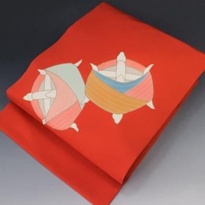 【あいまる中古帯】塩瀬 型染め 金箔 草木染め 九寸なごや帯 正絹 現代帯