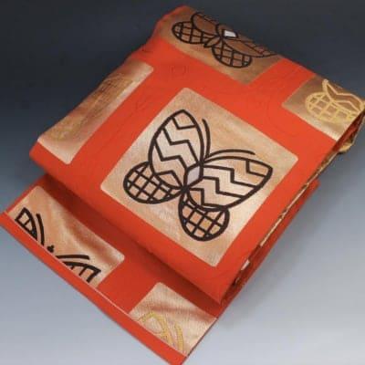 【あいまる中古帯】九寸なごや帯 正絹 錦織 金系 蝶々柄織り出し
