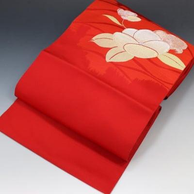 【あいまる中古帯】金糸 銀糸 部分つづれ 正絹 八寸なごや帯