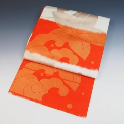 【あいまる中古帯】袋帯 未仕立て 正絹 絣 荒波に葉柄 橙色 生成り色