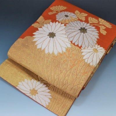 【あいまる中古帯】花柄織り出し 金糸 正絹 九寸なごや帯