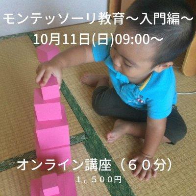 【オンライン】10月11日(日)09:00〜10:00モンテッソーリ教育講座〜入門編〜