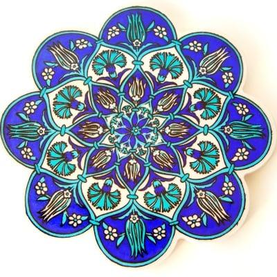 トルコタイル 鍋敷き青