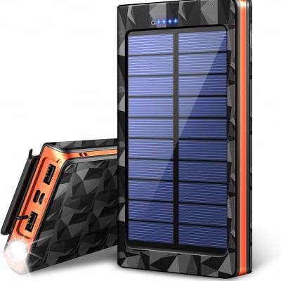 【令和最新版&LEDライト付き】 24000mAh モバイルバッテリー ソーラーチャージャー ソーラー充電器 大容量 急速充電 QuickCharge 2USB出力ポート 太陽光で充電可能 防水 耐衝撃 地震/台風/災害/旅行/アウトドアに大活躍に iPhone/iPad/Android対応 PSE認証済 (オレンジ)