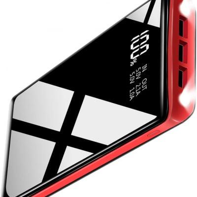 モバイルバッテリー 25000mAh 大容量 急速充電 3個LEDランプ搭載 LEDスクリーン残量表示 PSE認証済 2USB入力ポート(2.4A+2.4A) 3USB出力ポート (2.4A+2.4A+2.4A) iPhone/iPad/Android各種対応(黒と赤)