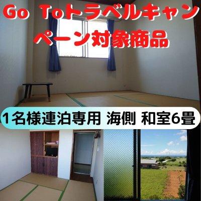 【Go Toトラベルキャンペーン対象商品】【1名様 連泊専用】【部屋売り】青と緑の美しい景色が見えるお部屋   和室6畳(2階海側) 【現地決済】