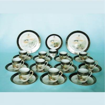 【明治の里帰り陶器】 コーヒー12客セットとデザート皿2枚 富士山柄